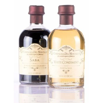 White Balsamic Vinegar Condiment and Saba Slowly Cooked Grape Must | Value GIft Set | by Compagnia del Montale | in beautiful (2 X 8.5 fl oz) bottles