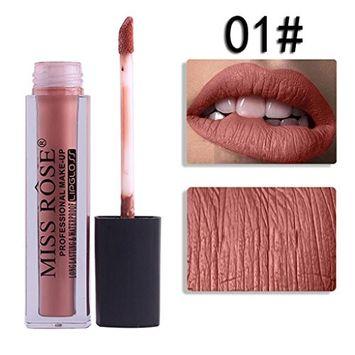 DZT1968 12colors MISS ROSE Liquid Moisturizer Velvet Kissproof Lipstick Cosmetic Beauty Makeup 15.9x2x2cm