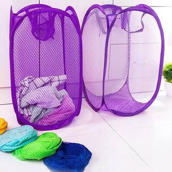 Foldable Practical Pop Up Washing Clothes Laundry Basket Solid Color Mesh Dirty Clothes Storage Basket Bag For Home
