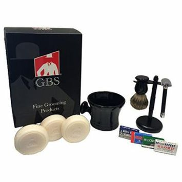 GBS Shaving Gift Set - Comes with Gift Box - Merkur 20c razor GBS Mug,100% Pure Badger Brush, 3pk pf 97% All Natural Soap, Stand, and 25 Blades