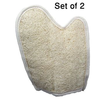 Exfoliating Loofah Glove / Pad - 2 Pack 100% Natural SPA Beauty - Egyptian Organic Bath Sponge Body Scrubber - Premium Quality Lofa Loofa Luffa Loffa for exfoliating your skin.