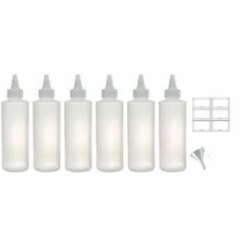 Twist Top Spout Natural Clear Refillable Squeeze Plastic (BPA Free) Bottle - 8 oz (6 pack) + Funnel and Labels