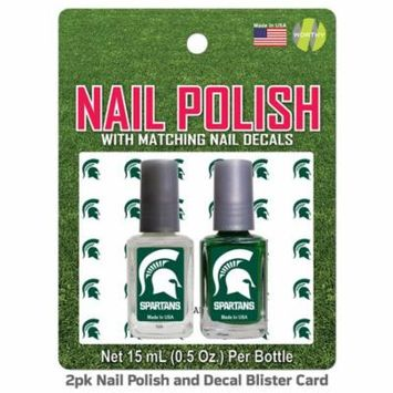 Michigan State Spartans 2 Pack Nail Polish With Decal - Team Color