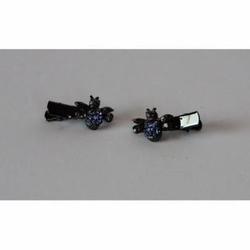 Twin Jeweled Mini Beatle Hair Clips (set of 2)