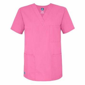 Adar Universal Unisex V-Neck Tunic Top 3 Pockets - 601 - Lipstick Pink - XL