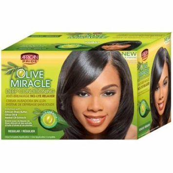 African Pride Olive Miracle Deep Conditioning Anti-Breakage No Lye Relaxer, Regular 1 ea (Pack of 2)