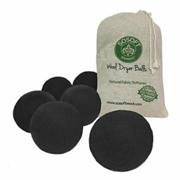 SoSoft Wool Dryer Balls 100% Premium So Soft Wool Dryer Balls XXL Hand Made in Nepal All Natural Eco Friendly All Natural Fabric Softener (Black)