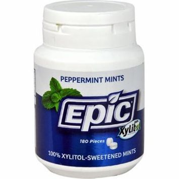 Epic Dental Xylitol Sweetened Mints Peppermint -- 180 Pieces pack of 4