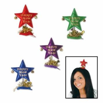 (12ct) Happy New Year Star Hair Clips assorted colors