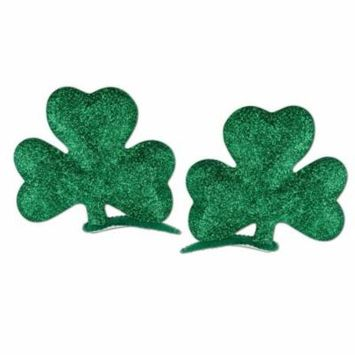 (Pack of 12) Glittered Shamrock Hair Clips