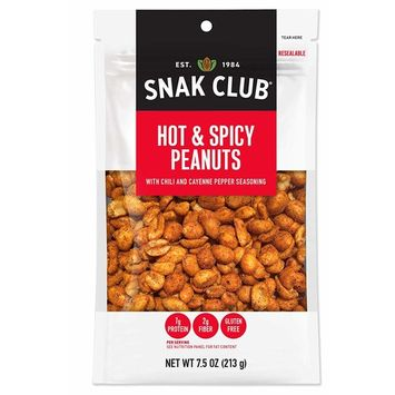 Snak Club All Natural Hot & Spicy Peanuts, Gluten Free, Non-GMO, 7.5-Ounces , 6-Pack