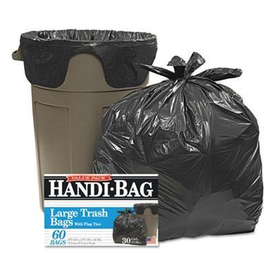 Super Value Pack Trash Bags, 30gal, .65mil, 30 x 33, Black, 60/Box, Sold as 1 Box, 60 Each per Box