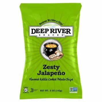 Deep River Snacks Zesty Jalapeno Kettle Chips 5 oz Bags * 12