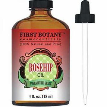 Rosehip Oil - 100% Pure Cold Pressed & Organic 4 fl. oz. - Best Moisturizer to heal Dry Skin & Fine Lines - Virgin Rose Hip Seed Oil For Face and Skin