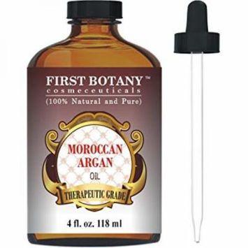 Moroccan Organic Argan Oil For Hair, Skin, Face, Nails, Cuticles & Beard 4 fl. oz. - Best Anti-Aging, Anti-Wrinkle, Triple Extra Virgin & Cold Pressed Moisturizer