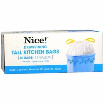 Nice! Draw String Tall Kitchen Bags 13 Gallon 30.0 ea (Pack of 6)