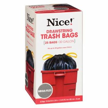 Nice! Drawstring Flexible Trash Bags 30 Gallon 25.0 ea