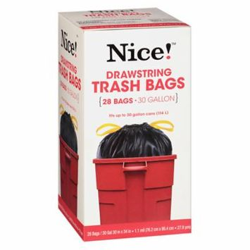 Nice! Drawstring Trash Bags 30 Gallon 28.0 ea (Pack of 6)