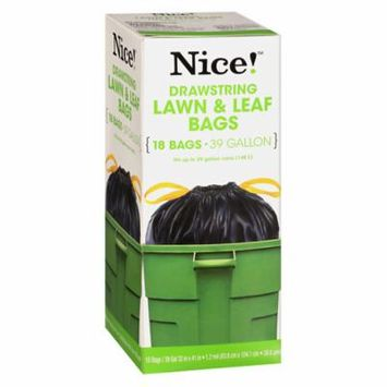 Nice! Drawstring Large Trash Bags 39 Gallon 18.0 ea (Pack of 12)