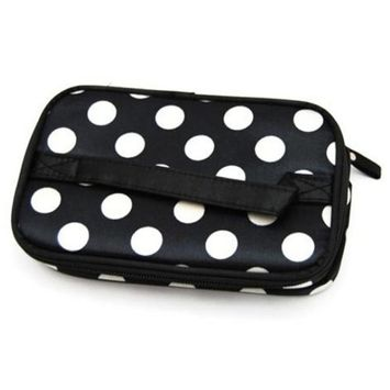 DATEWORK Chic Lady's Double wave point Cosmetic Hand Bag Tool, Storage Toiletry Bag (black + white spots)
