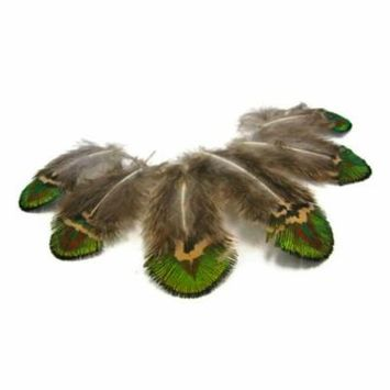 20 Pieces - Green Gold Peacock Plumage Loose Feather