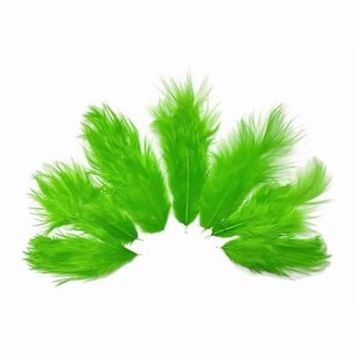 1 Dozen - Solid Green Rooster Chickabou Fluff Mini Feathers