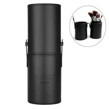 EMOCCI Makeup Brush Holder Large Pu Leather Travelling Cosmetics Make Up Cup Storage Organizer Case