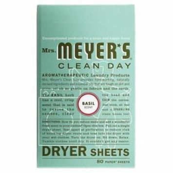 MrsMeyer's Clean Day Basil Scent Dryer Sheets Reduces Static Only One