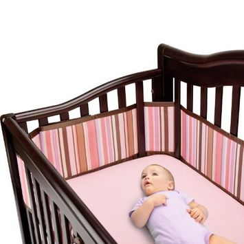 BreathableBaby Breathable Deluxe Mesh Crib Liner, Pink/Chocolate Stripe (Discontinued by Manufacturer)
