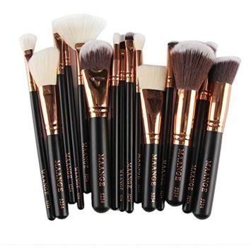 Makeup Brushes,Hatop 15pcs Cosmetic Makeup Brush Blusher Eye Shadow Brushes Set Kit (Black)