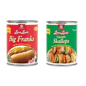 Loma Linda Vegetarian Protein Bundle of Two 20 Ounces Cans: One Can of Big Franks and One Can of egetable Skallops