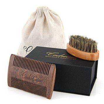 Father's Day Gift Codream Beard Brush & Beard Comb Kit - Natural Boar Bristles Bamboo Beard Brush and Thick & Fine Teeth Handmade Sandal Wood Comb Perfect for Men Beard & Mustache