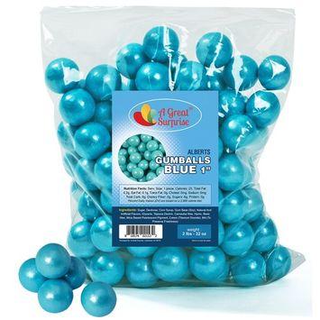 Gumballs in Bulk - Light Blue Gumballs for Candy Buffet - Shimmer Gumballs 1 Inch - Bulk Candy 2 LB [Light Blue]