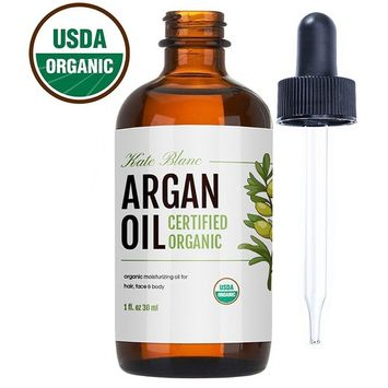 Moroccan Argan Oil (1oz), USDA Certified Organic, Virgin, 100% Pure, Cold Pressed by Kate Blanc. Stimulate Growth for Dry and Damaged Hair. Skin Moisturizer. Nails Protector. 1-Year Guarantee.