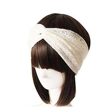 1pc White Women Lace Hair Tie Turban Twist Criss Cross Head Wrap Headband Hairband Knotted Headscarf Hair Accessories Yoga Headwrap
