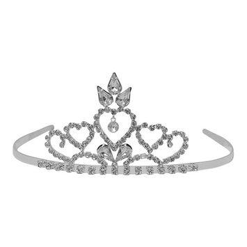 Futuron Girls Silver Sparkle Rhinestone Heart Leaf Shape Tiara Headpiece