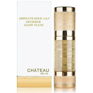 ABSOLUTE GOLD 24K SHIMMER GLOW FLUID, 24 Karat Gold, SILK PEPTIDES and HYALURONIC Acid. Excellent for all skin types. 1 fl.oz-30 ml