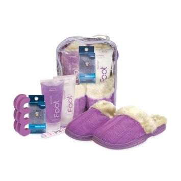 Bath Accessories Spa Sister Snuggle Up Foot Spa Cable Knit Slippers, Vanilla Berry Lavender
