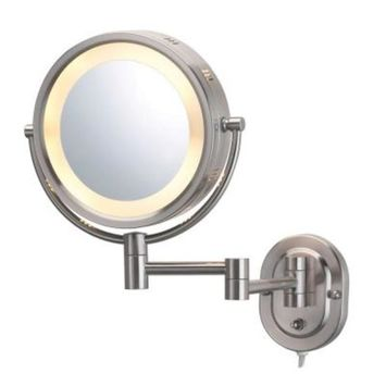 SEE ALL 8 in. x 8 in. Round Lighted Wall Mounted 5X Magnification Makeup Mirror in Nickel