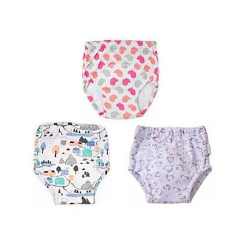 Jomin Baby Infant Toddler Potty Training Pants 3 Pack Assortment 100% Cotton Training Pants Toddler Girls,Cloth Underwear(Large)
