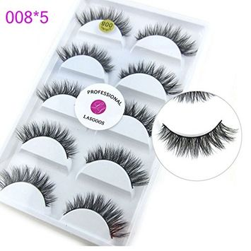 3D Real Mink False Eyelashes LASGOOS 100% Siberian Mink Fur Cruelty-free Luxurious Natural Cross Winged Fake Eye Lashes Makeup 5 Pairs/Box L008-5