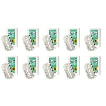 Derby Extra Double Edge Blades, 5 ct. (Pack of 10) + FREE Travel Toothbrush, Color May Vary