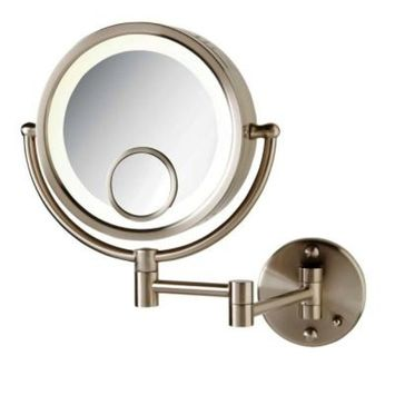 SEE ALL 8 in. x 8 in. Round Lighted Wall Mounted 7X and 15X Magnification Makeup Mirror in Nickel
