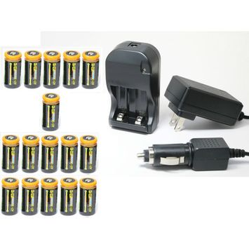 Ultimate Arms Gear 16pc CR123A 1200 mAh Lithium Rechargeable Batteries Battery Charger Kit Universal 110/220V Rapid Wall Outlet & 12V Car Lighter Plug Adapter MAGLITE Flashlight Light Laser