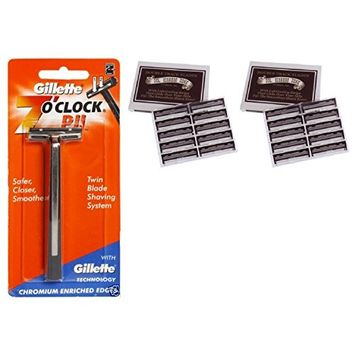 7 O'Clock PII Trac II Razor + Colonel Ichabod Conk Trac II Blade Cartridges 10 ct. (Pack of 2) + FREE Travel Toothbrush, Color May Vary