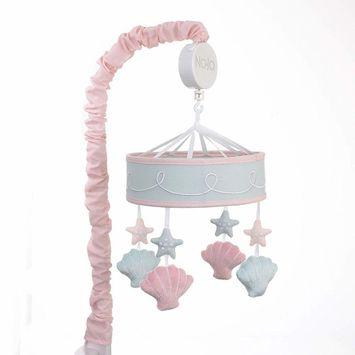 NoJo Sugar Reef Mermaid Nursery Crib Musical Mobile with Sea Shells & Stars, Aqua, Pink