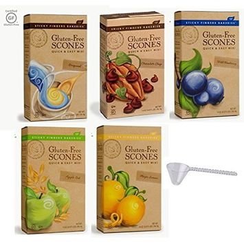 Sticky Fingers Bakeries Gluten-Free Scone Mixes: Original, Chocolate Chip, Wild Blueberry, Apple Oat, Meyer Lemon Variety 5 Pack With Scoop