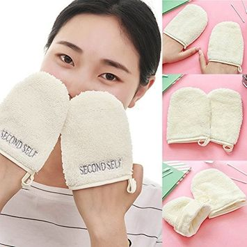 Exfoliating Body Scrub Exfoliator Glove,Makeup Microfiber Facial Cloth Face Towel Water Remover Cleansing Glove Reusable Tool(12.5cm by 10cm,White)