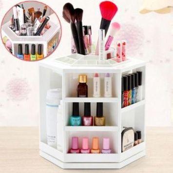 Qiilu Makeup Organizer 360 Degree Rotating Spinning Lipstick Tower Cosmetics Storage Brush Holder, Large(white)