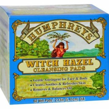 Humphreys Homeopathic Remedies HG0187021 Witch Hazel Cleansing Pads - 60 Pads